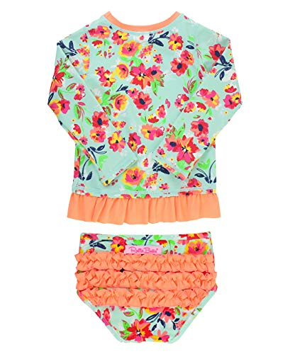 RuffleButts Baby/Toddler Girls Painted Flowers Long Sleeve Rash Guard Bikini - 6-12m