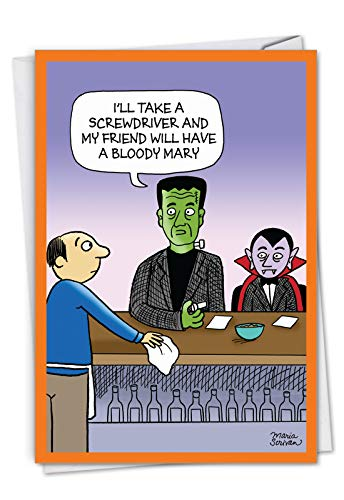 Monster Drinks: Hilarious Halloween Greeting Card With some famous monsters at a bar, with Envelope. -