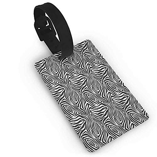 - Boarding pass Stripes,African Zebra Skin Pattern with Abstract Lines Monochrome Wild Animal Hide Design, Black White One Size Travel Luggage Label
