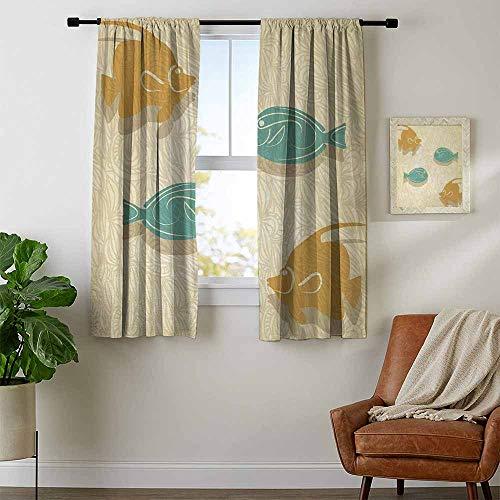 youpinnong Fish and Wave, Curtains Sliding Glass Doors, Aquarium Marine Ocean Themed Fishing Decor Vintage Stylized, Curtains Nursery, W54 x L63 Inch Orange Sand Brown Seafoam ()