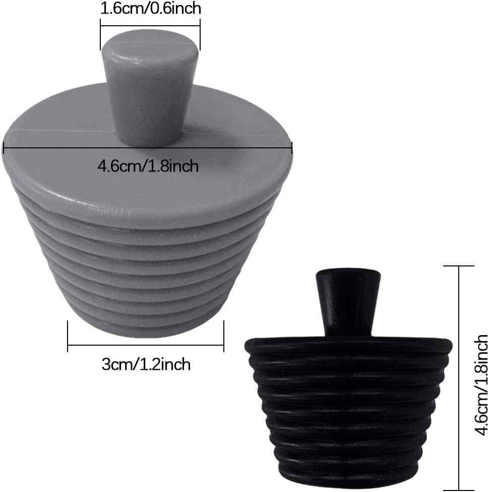 Tub Stopper 2 Pack Universal Silicone Bathtub Stopper Sink Drain Plug for Bathrooms Kitchen and Laundry Black and Gray
