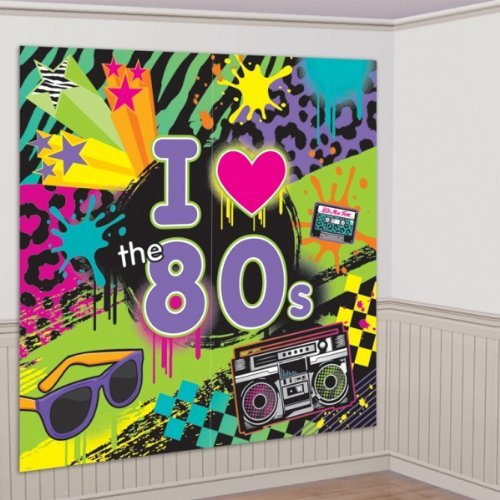 80s Material Girl Party Decoration - Giant 'I Love The 80S' Scene Setter 65'' X 65''