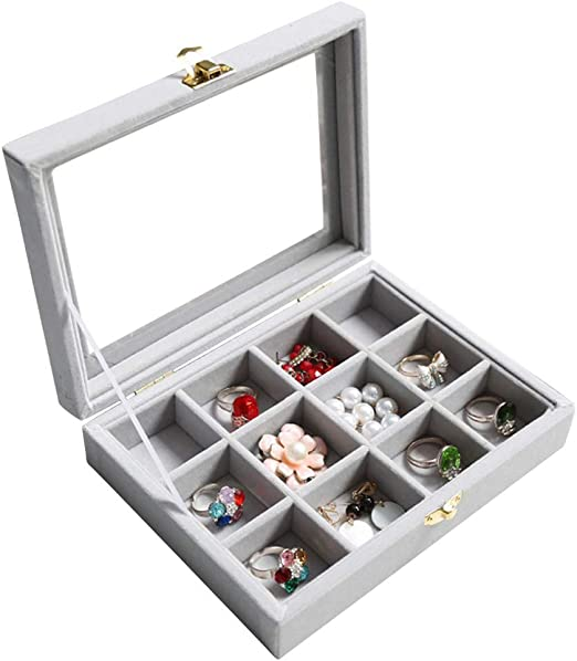 30 Grids Ring Earrings Necklace Jewelry Display Organizer Box Tray Showcase