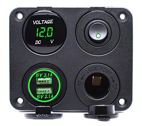 Cllena 4 in 1 Multi-Functions Panel, Dual USB Charger Socket 4.2A + Digital Voltmeter + 12V Power Outlet + ON-Off Toggle Switch for Car Marine Boat Truck Rv ATV UTV Golf Cart Camper etc. (Green) (Socket 1 4in Multi)