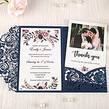 for Birthday Dinner Graduation Party Baptism Quincea/ñera Rhinestone Design Wedding Invitations Personalized Navy Blue, 50Pcs WISHMADE Laser Cut Bridal Shower Invitations with Envelopes