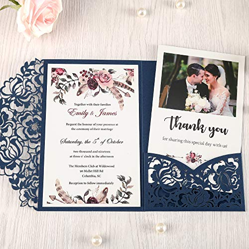 DORISHOME 4.7x7 Inch 50PCS Blank Navy Blue Wedding Invitations Kits Laser Cut Hollow Rose Pocket Wedding Invitations with Envelopes For Wedding Bridal Shower Engagement Invite