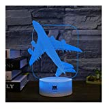 Plane 3D LED Visual Illusion Night Light Xmas Chirstmas Halloween Birthday Party Gift Nursery Bedroom Playroom Table Desk Night Lamps Lights for Boys Kids Teens Toddlers Room Decor Decal by HUI YUAN