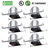Sunco Lighting 6 Pack 6 inch New Construction LED Light Can Air Tight IC Housing, Recessed Lights, LED Downlight, for Retrofit Kit, Electrician Prefered - UL Listed and Title 24 Certified (TP24)