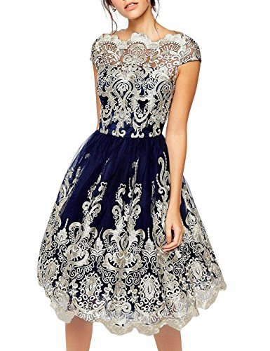 JudyBridal Women´s Lace Embroidered Tulle Evening Dress Prom Bridesmaid Gown M Navy Blue