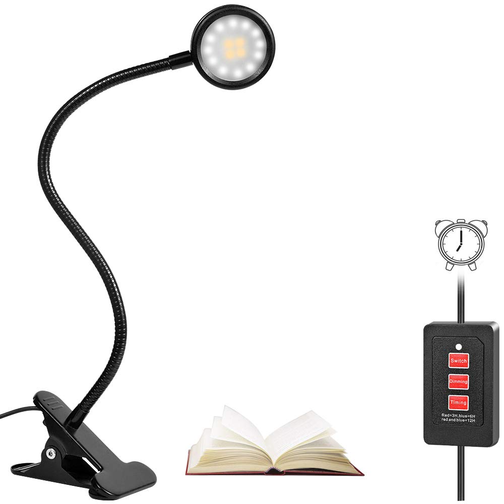 LEDの卓上スタンドの本ライト、3つの照明モードのライトの8W改善されたタイミング機能クリップ5調光レベル、研究読書のための16のLEDアイケアデスクトーチ作業リラックス睡眠   B07FD4294S