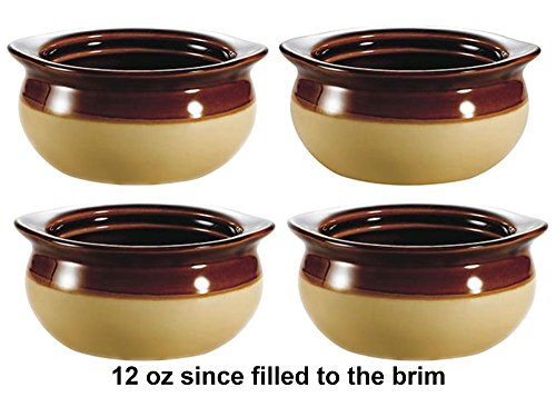 Brown and Ivory Porcelain Onion Soup Crock Bowl, Healthy Portion Size, 12 Ounce, Set of 4 (Porcelain Bowl Oven In)