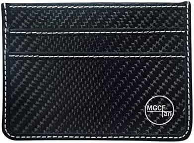 RFID Blocking MGCFTan Carbon Fiber Wallet Glossy Glossy Money Clip Credit Card Business Card Holder 3K Twill
