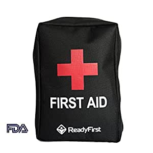 Compact First Aid Survival Kit (95 Piece) by Ready First | Travel, Outdoor, Hiking, Emergency, Camping, Hunting, Fishing | Water Resistant, Tactical Molle Straps on Back