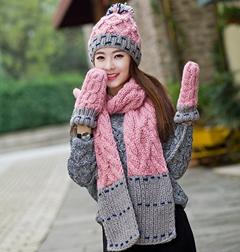 Pink Korean Cute Warm Knitting Sets new Long Hat Cap Knitted Hat&Scarf sets for Christmas Birthday presents Line Walker