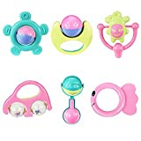 Mumustar 6Pcs Baby Rattle Toy Set, Hand Bell Music Ringing Jingle Rattle Ball Shaker Grab & Spin Toys For Newborn Baby Kids Toddlers