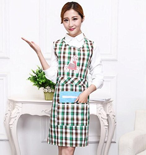 Goodscene Creative Apron Women Plaid Apron Zip Pocket Apron for Cooking Baking (Green) by Goodscene