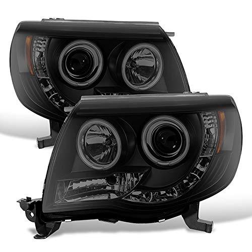 ACANII - For 2005-2011 Toyota Tacoma LED DRL CCFL Halo Black Smoked Projector Headlights Headlamps, Driver & Passenger