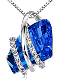 """Wish Stone Pendant Necklace with Birthstone Crystal, 18K Rose Gold Plated/Silvertone, 18"""" + 2"""""""