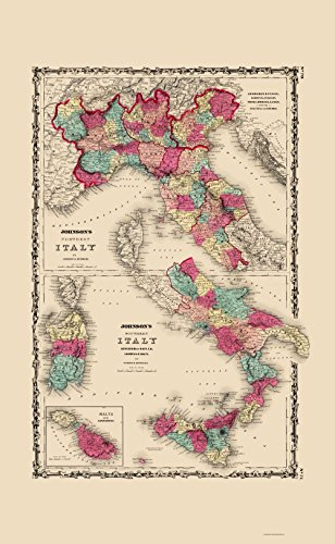 1860 Italy Antique (Old Italy Map - Northern and Southern Italy - Johnson 1860 - 23 x 37.32 - Matte Canvas)