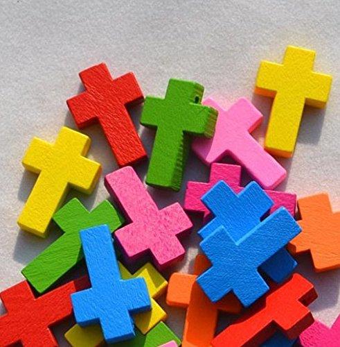 jiaqinsheng creativo de madera Cruz Colgantes ajuste DIY pulsera o Neckalce accesorios (Multicolour)