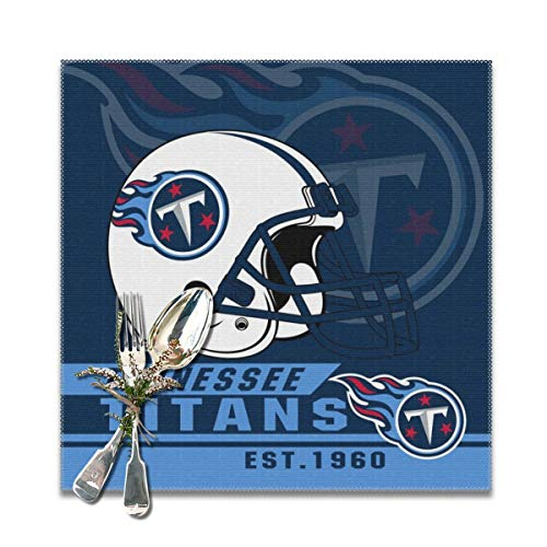 Titan 6' Coffee - Marrytiny Custom Colourful Placemats Heat Resistant Table Mats Tennessee Titans Football Team 100% Polyester Dining Table Set of 6 Kitchen Coffee Mat 12 x 12 Inch
