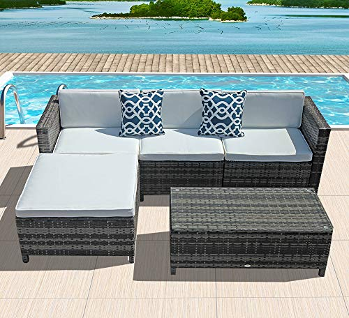 White Outdoor Patio Furniture.Outdoor Patio Furniture Set 5pc Pe Wicker Rattan Sectional Furniture Set With Cream White Seat And Back Cushions Steel Frame Blue Throw