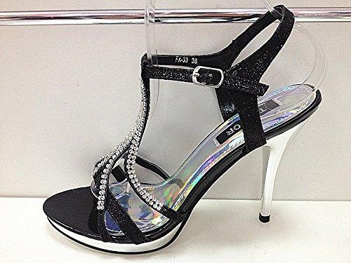 Sandale con zapatos de tacón de fiesta para mujer, diseño de novios de boda calzado FA-33, color negro