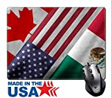 """MSD Natural Rubber Mouse Pad/Mat with Stitched Edges 9.8"""" x 7.9"""" IMAGE ID 32559273 Close up of the flags of the North American Free Trade Agreement NAFTA members on textile texture NAFTA is the world"""