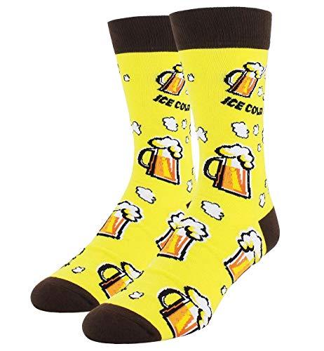 Men's Novelty Funny Cool Beer Crew Socks, Crazy