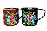 enamelware red pitcher - Enamel Camping Mugs / Red & Black Camping Mugs / Pair of Camping Mugs / Hand Painted Camping Mug