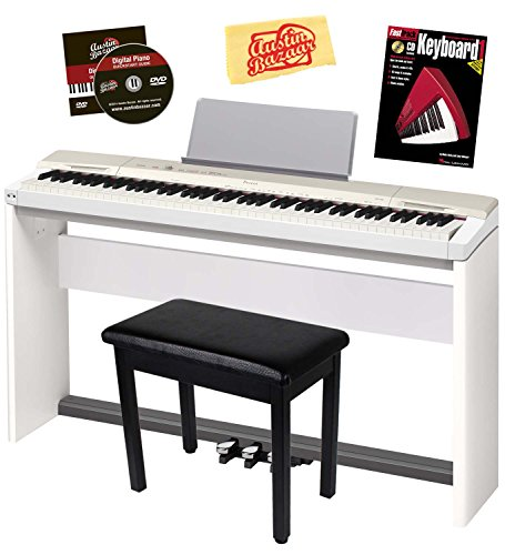 Casio Privia PX-160 Digital Piano Bundle with Casio CS67 Stand, SP33 Pedal, Furniture-Style Bench, Instructional Book, Austin Bazaar Instructional DVD, and Polishing Cloth - Champagne Gold