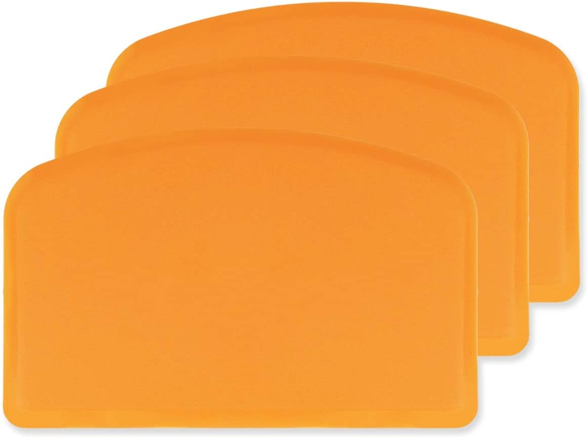 DOERDO Flexible Food Safe Plastic Dough Scraper,for Food Cutting and Cleaning,Multipurpose Food Scrappers(Orange,3PCS)