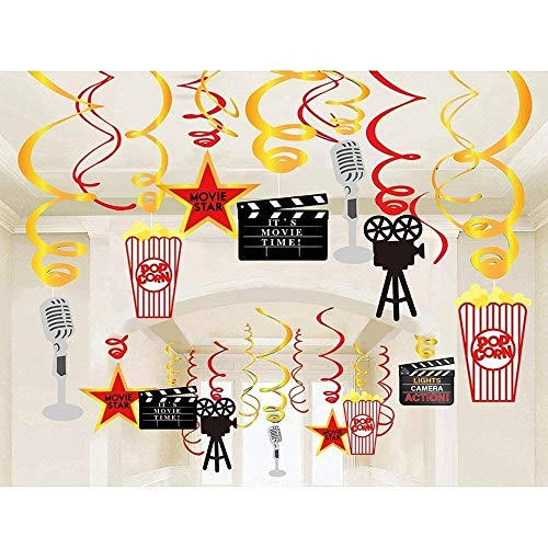 Hollywood Themed Backdrop (30 Pcs Hollywood Movie Night Hanging Swirls Decorations - Hollywood Movie Themed Ceiling Streamers Backdrop Party Decorations)