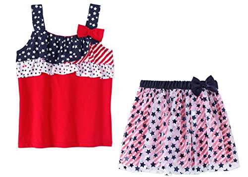 Toddler Girl's Americana Skirt and Tank Top July 4th Set (4T)