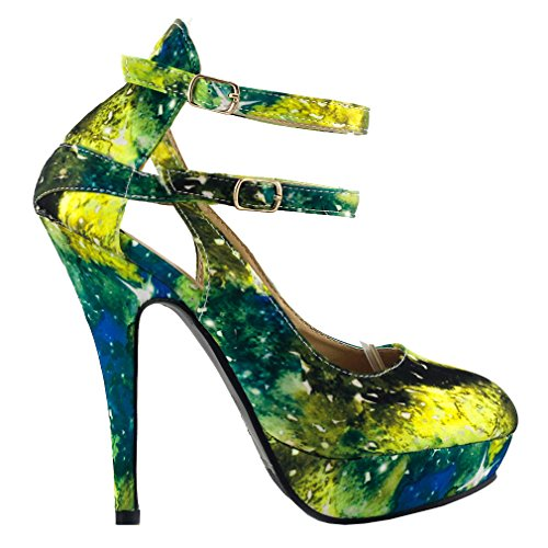 Galaxy Pumps (Show Story Green Multicolored Night Sky Mary Jane Cut Out Stiletto Party Pump,LF30451GR40,9US,Green)