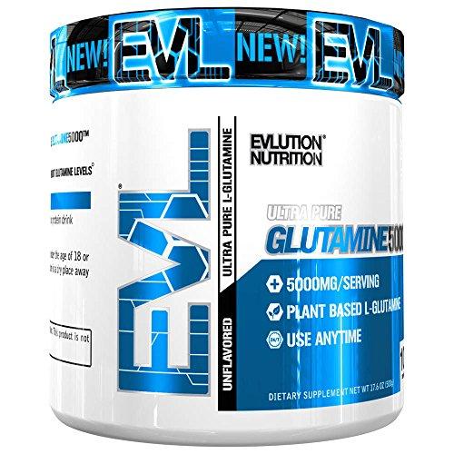 Evlution Nutrition Glutamine 5000 5 Grams of Pure Glutamine in Each Serving Unflavored Powder (100 Servings) by Evlution