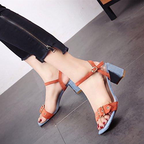 toe sandali scarpe tacco piazza tacco temperamento b estate alto eleganza toe caviglia Moda YMFIE lady OH07qX0x