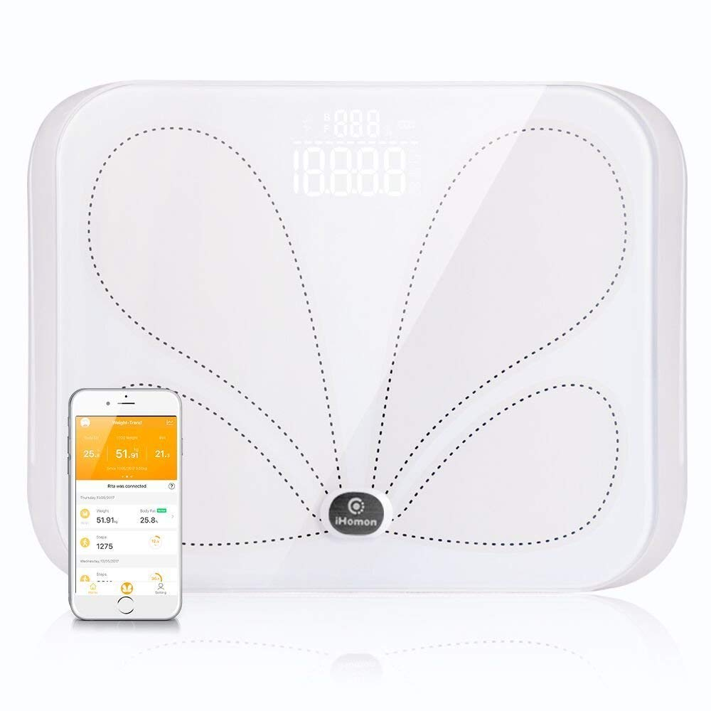 iHomon Bluetooth Body Fat Scale Smart BMI Scale Digital Bathroom Wireless Weight Scale,Body Composition Analyzer with Smartphone APP,396 lbs (White)