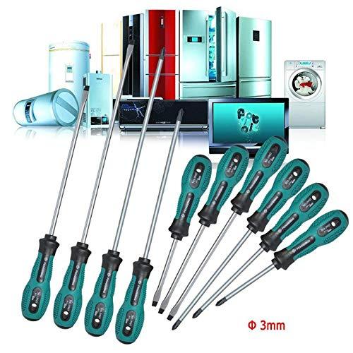 GINZU Home Fix Tools Drill Bits 10pcs/lot 3mm Shank Slotted/Flat Cross Head Screwdriver Screw Driver 75MM 100MM 125MM 150MM 200MM by GINZU (Image #1)