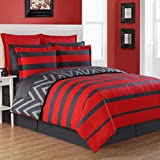 4 Piece Kids Rugby Stripes Pattern Comforter Set Queen Size, Beautiful Reversible Chevron Zig Zag Striped Luxurious Soft Design Bedding, Modern Stylish Bedrooms, Vivid Colors Red Charcoal Grey, Unisex