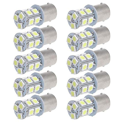 BEESCLOVER 10x White 1156 BA15S 13 5050 3 Chips SMD RV Camper Trailer LED Interior Light Bulbs 1073 1141 Backup Reserve Light Show One Size by BEESCLOVER