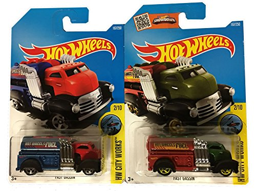 Hot Wheels City Works 2016 Fast Gassin' #167 Red & Green 2-Car Variant Bundle Set (Homer Simpson Muscle)