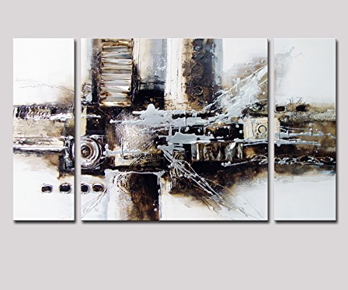 Abstract Oil Paintings On Canvas (Noah Art-Black and White Abstract Art, 100% Hand Painted Abstract Oil Paintings on Canvas, Large 3 Panel Framed Modern Abstract Wall Art for Living Room Home Decor, 24 Inches Height x 48 Inches Width)