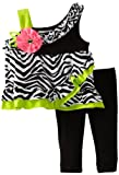 Rare Editions Baby Baby-Girls Newborn Zebra Print Legging Set, Black/White/Lime, 3 Months