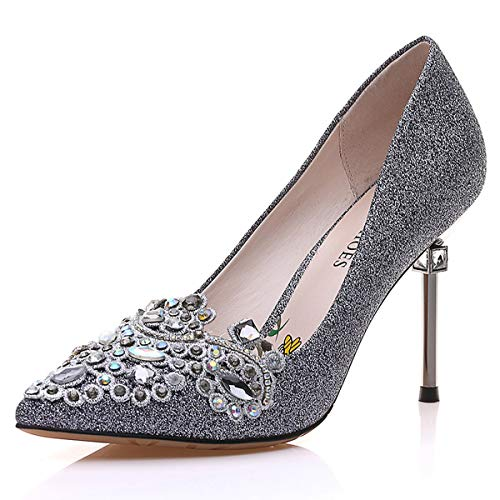 AJUNR Women's bridesmaids heels shoes heel Gun style nightclub or sexy single Work shoes pointed more high thin color shoes Ladies female 8CM shallow drill water rAqEwr4n