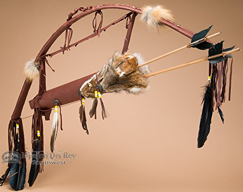 Mission Del Rey Native American Chocolate Deer Skin Bow, Arrows & Coyote Quiver Set 44
