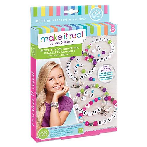 Make It Real - Block n' Rock Bracelets. DIY Alphabet Letter Beads & Charms Bracelet Making Kit for Girls. Arts and Crafts Kit to Design and Create Unique Tween Bracelets with Letters, Beads & Charms. (Abc Blocks Charm)