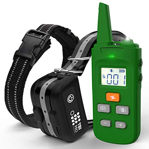 TBI Pro [All-New 2019 Dog Shock Training Collar with Remote | Heavy-Duty, Long Range 2000 ft, Rechargeable & IPX7 Waterproof | E-Collar Shock Collar for Dogs Small, Medium, Large Size, All Breeds