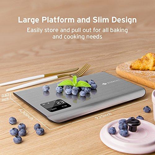 Etekcity EK7017 Digital Kitchen Multifunction Touch Scale, 11 lb 5 kg, Food Grade 304 Stainless Steel (Batteries Included), Large, Silver by Etekcity (Image #4)