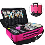 MLMSY Makeup Train Case 3 Layer Cosmetic Organizer Beauty Artist Storage Brush Box with Shoulder Strap, Pink, 16 inches